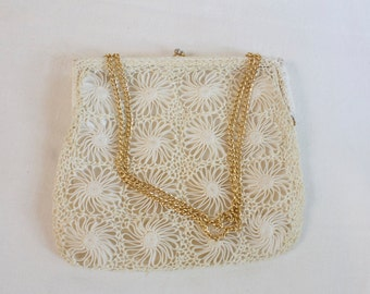 Vintage bridal purse Magid White floral clutch purse Made in Italy