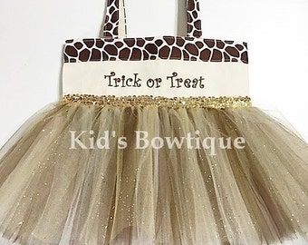 Personalized Giraffe Halloween Trick or Treat Tutu Bag