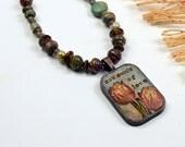 Nature Inspiration.. Handmade Art Bead Pendant, Floral, Picasso, Asymmetrical, Beaded Necklace,babnn40