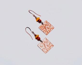 Art Bead Earrings, OOAK Earrings, Copper Swirls Earrings, Embossed Copper, Orange Mustard , Artisan Handcrafted Earrings