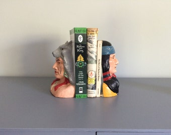 Cast Iron Native American Indian Chief Pair of Bookends