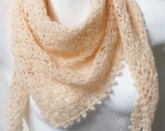soft pink shawl crocheted