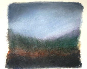Landscape Painting- Field and Sky- Original Mixed Media- Woodland, Twilight- Blue, Rust, Green, Black- 8x10