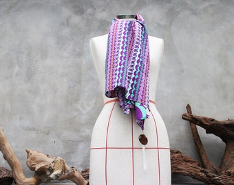 Retro purple cotton weighted scarf with white tassel charm