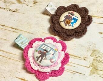 Sock Monkey Crochet Hair Clip Set , Fun Ice Cream Truck White, Hot Pink Flower Little Toddler Girl, Milk and Cookies Button, First Birthday