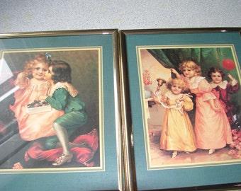 pair of vintage style framed prints