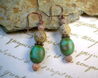 Picasso And Tiger Jasper Bead Dangle Southwest Earrings With Copper Boho