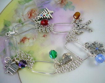 Sterling Christmas Charm Bracelet With Swarovski Crystals, Red Green Blue Holiday Style