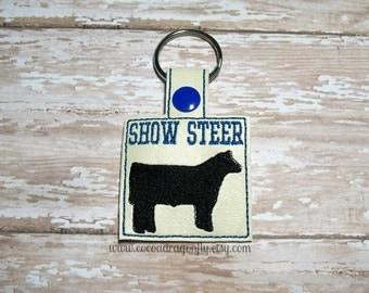 Show Steer Keychain, Blue