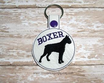 Boxer Key Chain, Purple, Key Fob