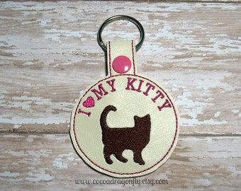 I Love My Kitty Keychain, Pink and Brown *SALE*