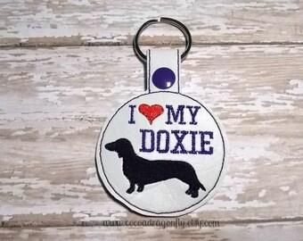 I Love My Doxie, Dachshund Key Chain, Key Fob, Purple