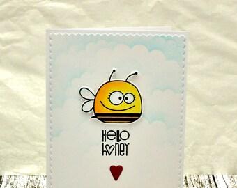 Hello Honey Card, Boyfriend Card, Girlfriend Card, Punny Love Card, Punny Hello Card, Bee Card, Punny Bee Card, I Love You, Thinking Of You