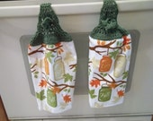 Towel - Kitchen Towel with Crochet Towel Topper - Fall Leaves as Pattern