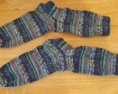 Hand Knitted Socks Selfstriping in Blue Colors Unisex