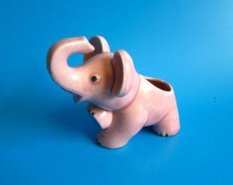 Vintage PINK Ceramic Elephant Planter JAPAN retro kitsch kitschy trunk plants mid century 50s 60s