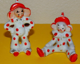 2 Japan Big Ear Clown Figurines