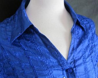 1980s Short Sleeved Blue Sequinned Blouse