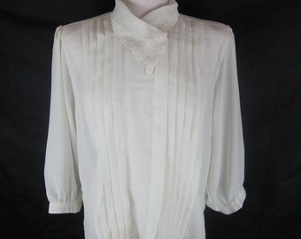 1980s Vintage Pleated Sheer Ivory Blouse