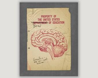 Back To School, dorm wall art, dorm decor, teen art, humor art, funny wall art, brain art, brain illustration, brain poster, education print