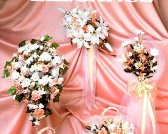 Bridal Elegance Bouquet Learn How to Make Artificial Silk Flowers Ribbon Basket Bouquet Nosegay  Centerpiece Craft Patterm Leaflet HOTP-133
