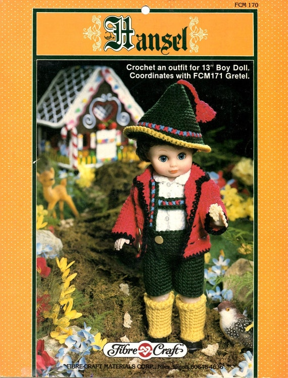 Hansel Crochet 13 Thirteen Inch Doll Outfit Tyrolean Hat Red Jacket White Shirt short Pants Sturdy Socks Craft Pattern Leaflet