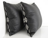 Black and White Leather Cushions ... Pair of Luxe Nordic Minimal Sofa Pillows