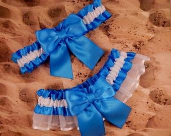 Copenhagen Blue Satin White Satin Organza Wedding Bridal Garter Toss Set