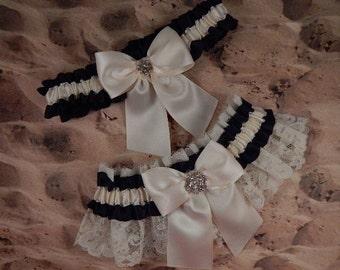 Black Satin Ivory Satin Ivory Lace Rhinestone Wedding Bridal Garter Toss Set