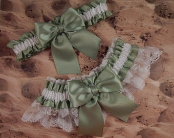 Moss Green Ribbon White Lace Bridal Wedding Garter Toss Set