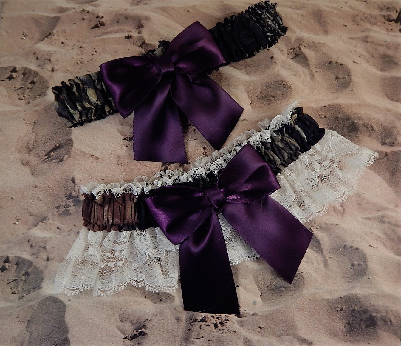 Camo camouflage purple eggplant ribbon ivory lace wedding for Camo ribbon for wedding dress