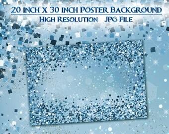 Blue Glitter Poster Background, 20x30 Glitter Poster