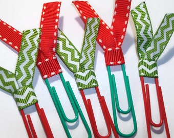 Christmas Red/Lime Green Chevron Planner Clips - Desk Accessories - Home Office Organization - Ribbon Paperclip Bookmark - PC018
