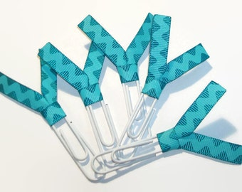 Teal Rick Rack Ribbon Paperclips Zig Zag - Desk Accessories - Planner Clips - Office Accessories - Ribbon Paperclip Bookmark - PC031