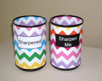 Rainbow Chevron Desk Accessories, Pencil Holder Set, Tin Can Pencil Holder with Labels, Classroom Organization, Teacher Gift   851
