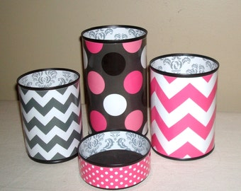 Hot Pink And Gray Cute Desk Accessories, Polka Dot And Chevron Pencil Holder,  Desk