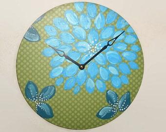 NEW!  Original Art Wall Clock 12-Inch, Blue Floral Wall Clock, Dahlia Clock, Hand Painted Clock, Unique Wall Clock - 2142
