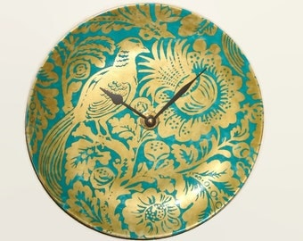SILENT Exotic Bird and Floral Wall Clock 10-1/2 Inches, Teal and Gold Home Decor, Porcelain Plate Wall Clock, Gift for Mom - 2178