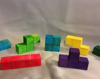 Deluxe 3D Wooden Tetris Blocks