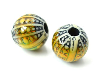 Mirage Beads, Sea Orb, 12x11mm, 2mm Hole, Color Changing Beads, Mood Beads -B524