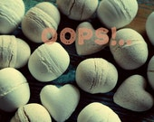 OOPS SALE Bath Bombs. Set of 3 Bath fizzies - Chamomile, Lemongrass. Bombs with cosmetic imperfection.