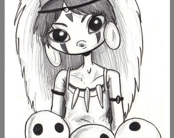 Day #231 - Princess Mononoke - original sketch a day drawing! 5.5 x 8.5
