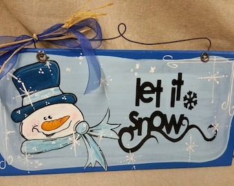 Snowman winter wooden hand painted  sign
