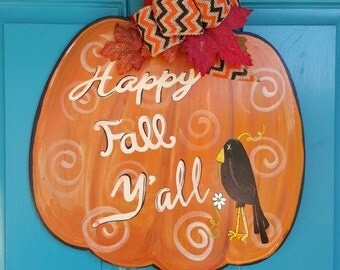 FALL door hanger welcome black crow hand painted sign.
