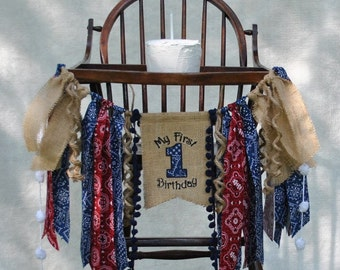 COWBOY/Rodeo (Blue) Bandana Birthday Banner One-HIGH CHAIR Banner-Banners-Birthday Banners-Custom Banners-Party Banner-Photo Prop