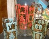 Vintage Cocktail Juice Pitcher & Glass Trio