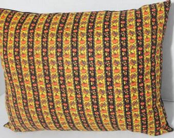 "Pumpkin Fall pillow cover in Vintage fabric, Autumn decor, falling leaves, orange pumpkins, Halloween pillow, 12x16"", 14"", 12"", 16"", custom"