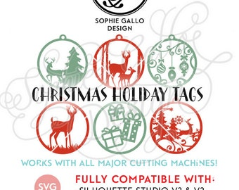 Christmas Ornament Tags SVG DXF instant digital download file Silhouette Cricut vector clipart graphics Vinyl Cutting Machine Screen Print
