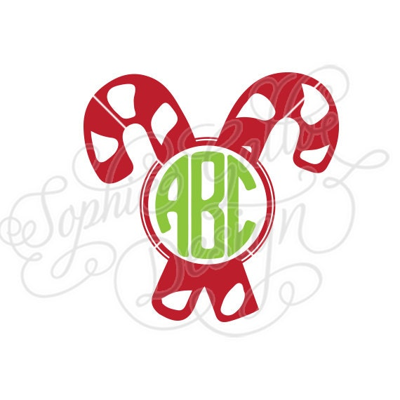 Candy cane christmas monogram svg dxf digital download file