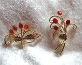 Vintage Chinese Carnelian Vermeil Brooch Lovely Gold Vermeil Carnelian Vintage Brooch